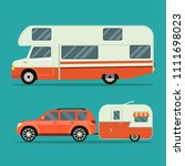 car and trailers caravan set.... | Shutterstock .eps vector #1111698023