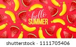 summer background with fruits.... | Shutterstock .eps vector #1111705406