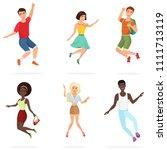 happy group of multi ethic teen ...   Shutterstock . vector #1111713119