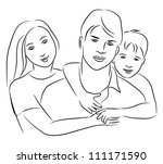 family   sketch drawing. | Shutterstock .eps vector #111171590