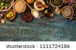 flat lay of wild healing herbs | Shutterstock . vector #1111724186