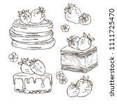 vector contour strawberry...   Shutterstock .eps vector #1111725470