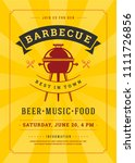 barbecue party vector flyer or... | Shutterstock .eps vector #1111726856