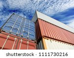 container in shipping yard of... | Shutterstock . vector #1111730216