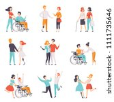 disabled people having a good... | Shutterstock .eps vector #1111735646
