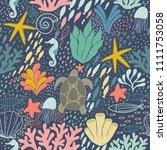 sea life blue pattern | Shutterstock .eps vector #1111753058