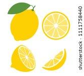 fresh lemon fruits  collection... | Shutterstock .eps vector #1111758440