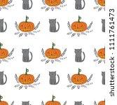 halloween seamless floral...   Shutterstock .eps vector #1111761473