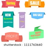 colorful sale shopping tags and ... | Shutterstock .eps vector #1111763660