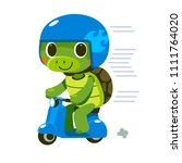 vector turtle character riding... | Shutterstock .eps vector #1111764020