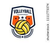 colorful volleyball logo... | Shutterstock .eps vector #1111773374