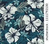 grunge hibiscus flowers... | Shutterstock .eps vector #1111792130