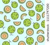 melon or cantaloupe eamless...   Shutterstock .eps vector #1111797200