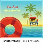 summer holiday card. vector... | Shutterstock .eps vector #1111798328