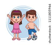 kids at summer with swim suit | Shutterstock .eps vector #1111805966