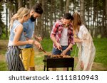 group of young people enjoying... | Shutterstock . vector #1111810943