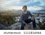 attractive hipster with a grey... | Shutterstock . vector #1111816466