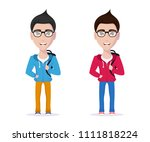 picture of cute student guy in... | Shutterstock .eps vector #1111818224