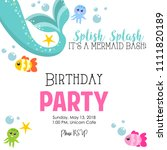 birthday invitation with mermaid | Shutterstock .eps vector #1111820189
