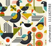 seamless pattern with stylized... | Shutterstock .eps vector #1111825583