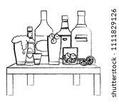 grunge liquor beverages bottles ... | Shutterstock .eps vector #1111829126