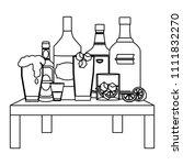 line liquor beverages bottles... | Shutterstock .eps vector #1111832270