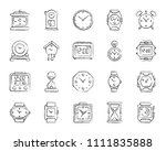 watch charcoal icons set....