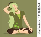 stylish teen girl  blonde long ... | Shutterstock .eps vector #1111840544
