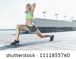 fit fitness woman doing... | Shutterstock . vector #1111855760