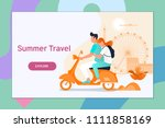 couple traveling on a scooter... | Shutterstock .eps vector #1111858169