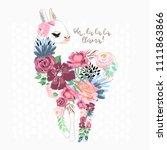 beautiful llama  alpaca... | Shutterstock .eps vector #1111863866