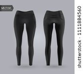 women s black leggings mockup... | Shutterstock .eps vector #1111884560