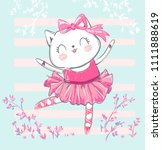 Hand Drawn Cute Cat  Ballerina...