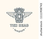 tiki head mask totem vector... | Shutterstock .eps vector #1111908743