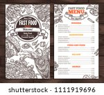 fast food vector menu template... | Shutterstock .eps vector #1111919696