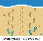 family at the sea. top view of... | Shutterstock .eps vector #1111921550