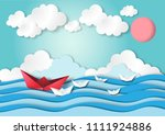 leadership concept with paper... | Shutterstock .eps vector #1111924886