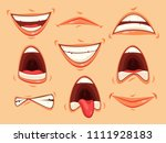 set of isolated mouth with lips ... | Shutterstock .eps vector #1111928183