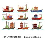 set of isolated fishing boats... | Shutterstock .eps vector #1111928189