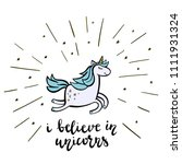 magic unicorn with lines and... | Shutterstock .eps vector #1111931324
