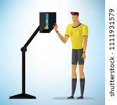 football referee shows video... | Shutterstock .eps vector #1111931579