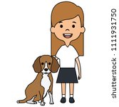 little girl with cute dog | Shutterstock .eps vector #1111931750