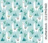 seamless pattern of llama ... | Shutterstock .eps vector #1111942460