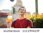 happy guy laughing  | Shutterstock . vector #1111944239