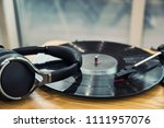 turntable vinyl record player | Shutterstock . vector #1111957076