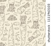 seamless pattern with daikon ... | Shutterstock .eps vector #1111963103