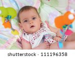 little cute baby girl lying in... | Shutterstock . vector #111196358