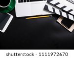 office stuff with movie clapper ... | Shutterstock . vector #1111972670