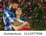 romantic happy couple in love... | Shutterstock . vector #1111977908