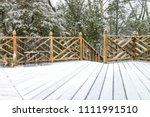 empty wooden deck of house with ... | Shutterstock . vector #1111991510